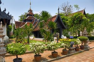Building in the grounds of Wat Chedi Luang Temple in Chiang Mai, Thailand
