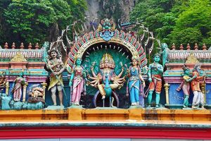 Carved figures on the entrance to the Batu Caves, a Hindu shrine in Kuala Lumpur, Malaysia