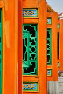 Carved window shutters on the Thean Hou Chinese Temple, Kuala Lumpur, Malaysia