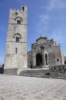 The Cathedral Church and Bell Tower in Erice, Sicily, Italy