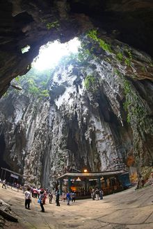 The Cathedral or Temple Cave at the Batu Caves, a Hindu shrine in Kuala Lumpur, Malaysia