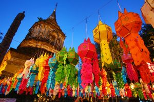 Chedi and colourful lanterns at Wat Lok Molee Temple in Chiang Mai, Thailand