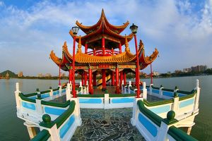 Chinese Pagoda on the Spring and Autumn Pavilions complex, Lotus Pond, Kaohsiung, Taiwan