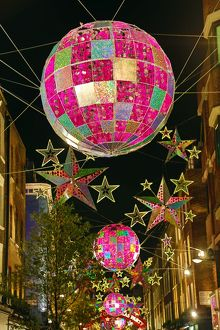 Christmas decorations, balls and stars, Carnaby Street, London