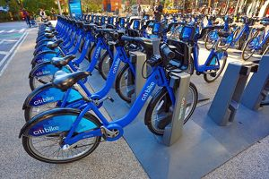 Citibike bicycle hire bicycles, New York, America