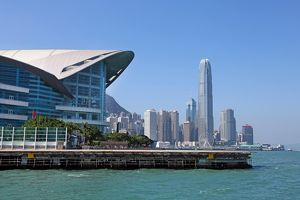 The city skyline of the Central area of Hong Kong and the Convention Centre in Hong Kong