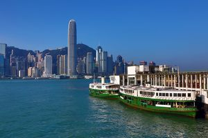 The city skyline of the Central area of Hong Kong and the Star Ferry in Hong Kong, China
