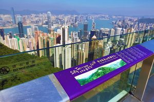 The city skyline of Hong Kong from the Victoria Peak Sky Terrace 428 in Hong Kong, China
