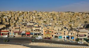 Cityscape of houses and buildings in the Old City, Amman, Jordan