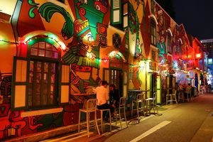 Colourful Bar on Haji Street in Little India in Singapore, Republic of Singapore