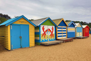 Colourful beach huts on Dendy Street Beach, Brighton, City of Bayside, Victoria