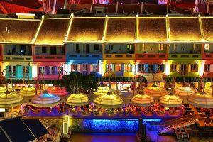 Colourful lights of the bars and restaurants at Clarke Quay in Singapore, Republic
