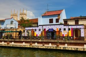 Colourful local houses on the Sungai Melaka river in Malacca, Malaysia