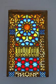 Colourful patterns on stained glass windows in King Hussein Park, Amman, Jordan