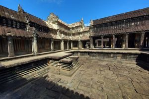 Courtyard in Angkor Wat Temple in Siem Reap, Cambodia