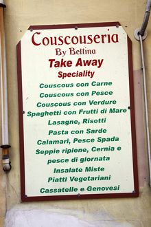Couscous menu, the speciality of Trapani, Sicily, Italy