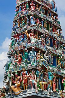 Decorations on the doorway of Sri Mariamman Hindu Temple, Singapore, Republic of