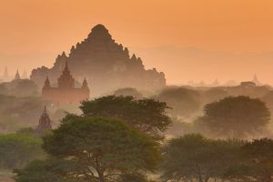 Dhammayangyi Pagaoda and Temples and pagodas at sunset on the Central Plain of Bagan