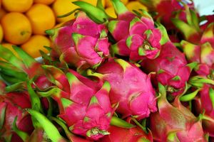 Dragon Fruit in the street market in Chinatown, Singapore, Republic of Singapore