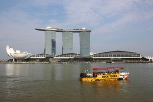 Duck tours for tourists in Marina May in Singapore, Republic of Singapore