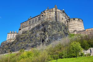 Edinburgh Castle seen from below in Edinburgh, Scotland