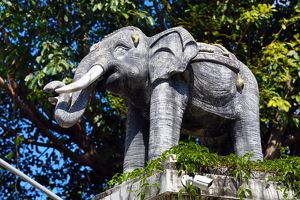 Elephant statue at Wat Lam Chang Temple in Chiang Mai, Thailand