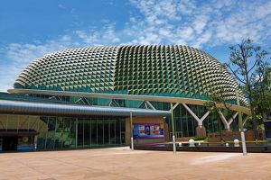 Esplanade, Theatres on the Bay concert hall with spiky metallic roof in Singapore