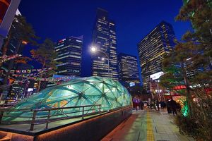 Gangnam metro station glass roof and buildings, Seoul, Korea