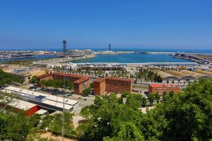 General aerial view of Barcelona Harbour, Barcelona, Spain