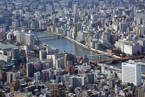 General aerial view of the city skyline, Tokyo, Japan
