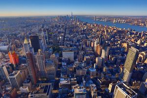 General aerial view of the New York downtown Manhattan city skyline, New York. America