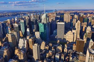 General aerial view of the New York Manhattan city skyline, New York. America