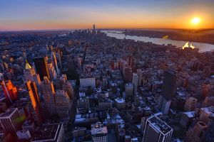 General aerial view of the New York Manhattan city skyline at sunset, New York. America