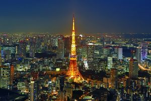 General city skyline night view with the Tokyo Tower in Tokyo, Japan