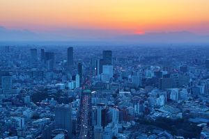General city skyline sunset view in Tokyo, Japan