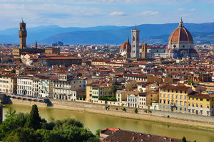 florence italy/general city skyline view duomo florence italy