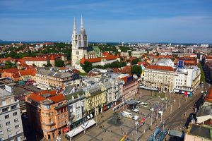 General city skyline view with Zagreb Cathedral and Ban Jelacic Square in Zagreb, Croatia