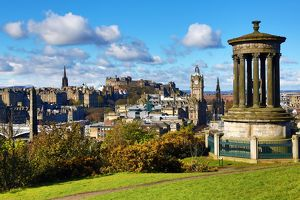 General city view from Calton Hill showing the Dugald Stewart Monument and Edinburgh