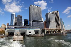 General view of the New York Manhattan city skyline and South Ferry terminal for