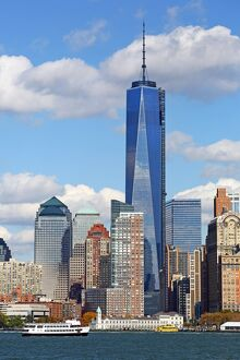 General view of the New York Manhattan city skyline and One World Trade Center ( 1 WTC ), New York