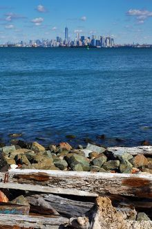 General view of the New York Manhattan city skyline seen from Staten Island, New York