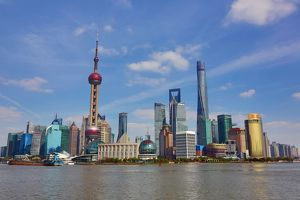 General view of the Pudong city skyline in Shanghai with the Oriental Pearl TV Tower