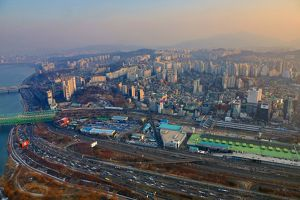 General view of the Seoul city skyline at dusk in Seoul, Korea