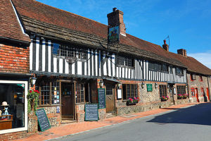 The George Inn pub in the High Street, Alfriston, West Sussex, England, United Kingdom