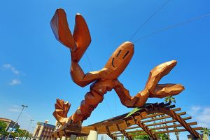 Giant lobster statue on the waterfront, Barcelona, Spain