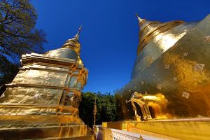 Gold chedi at Wat Phra Singh Temple in Chiang Mai, Thailand