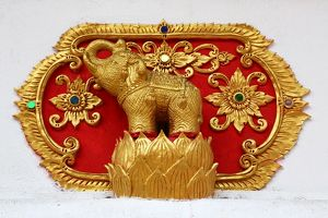 Gold elephant decoration at Wat Sum Pow Temple in Chiang Mai, Thailand
