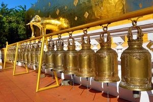Gold elephant statue and bells on the chedi at Wat Phra Singh Temple in Chiang Mai