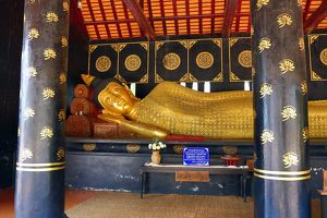 Gold reclining Buddha statue at Wat Chedi Luang Temple in Chiang Mai, Thailand