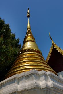 Gold Stupa at Wat Sum Pow Temple in Chiang Mai, Thailand